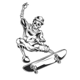 Illustration of skeleton on skate board