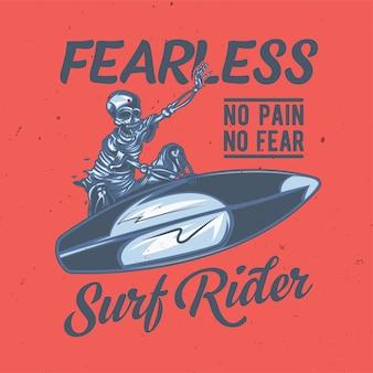 Illustration of skeleton on surfing board
