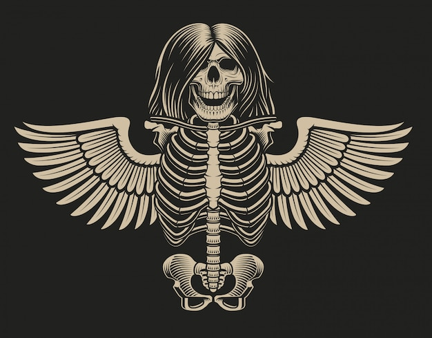 Illustration of a skeleton with wings on a dark background.