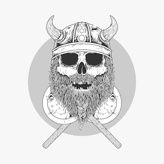 Illustration sketch viking skull with two crossed axe