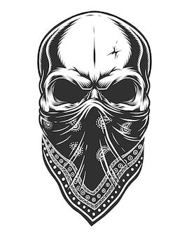 Illustration of skull in bandana on face