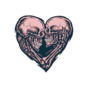 Illustration of skull couple, hand drawn line with digital color
