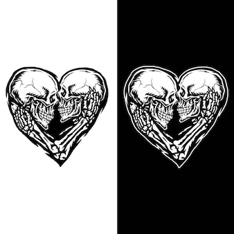 Illustration of skull couple, isolated on dark and bright background