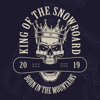 Illustration of a skull in crown with a snowboard on the dark background.