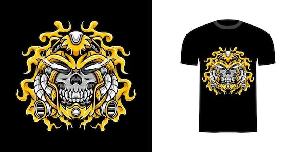Illustration skull cyborg with engraving ornament for tshirt design