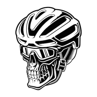 Illustration of a skull cyclist in helmet on the white background.