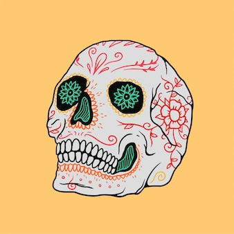 Illustration of skull dia de los muertos