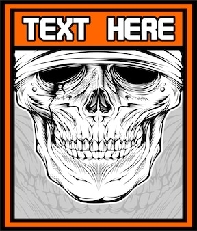 Illustration of skull dj. shirt design on dark background. text is on the separate layer. -