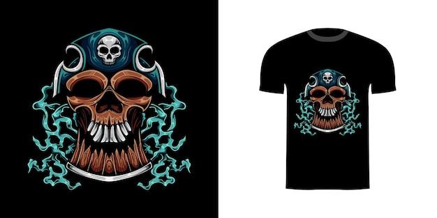 Tシャツデザインのイラストスカル