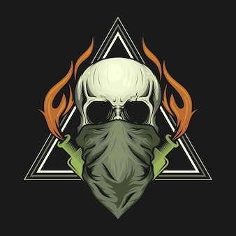 Illustration of skull head mask and molotov cocktail bottle with fire design