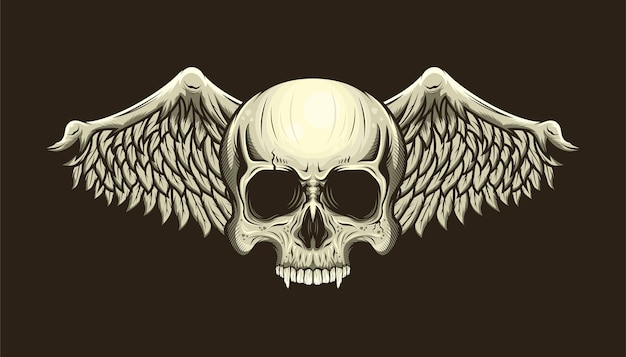 Illustration of skull head and wings detailed