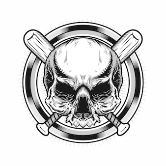 Illustration of skull head with circle and baseball bats realistic design