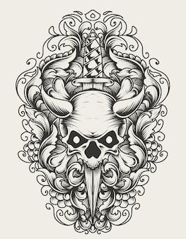 Иллюстрация головы черепа с ножом монохромный стиль