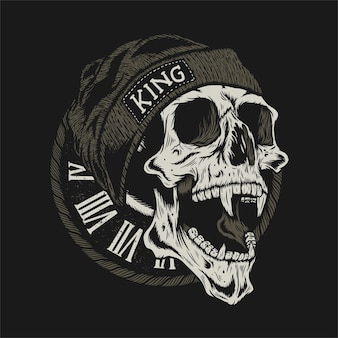 Illustration of skull head with knitted hat detailed design