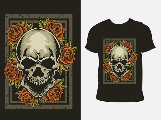 Tシャツのモックアップにバラの花とイラストの頭蓋骨の頭
