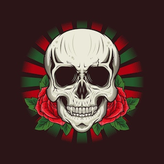 Illustration of skull head with roses detailed design
