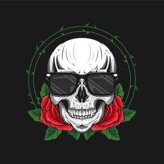 Illustration of skull head with roses and glasses detailed design