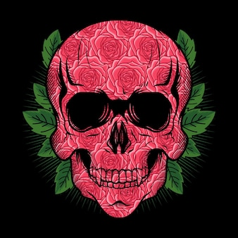Illustration of skull head with roses texture detailed vector design