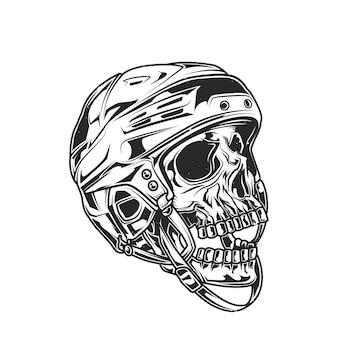 Illustration of skull at hockey helmet