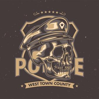 Illustrazione del cranio in un cappello della polizia