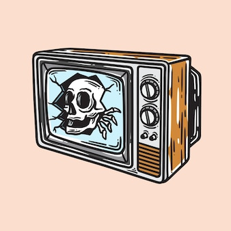 Illustration of a skull popping up from an old-school television in vintage style