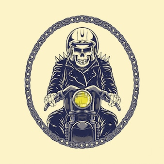 Illustration skull rider motorcycle with chain