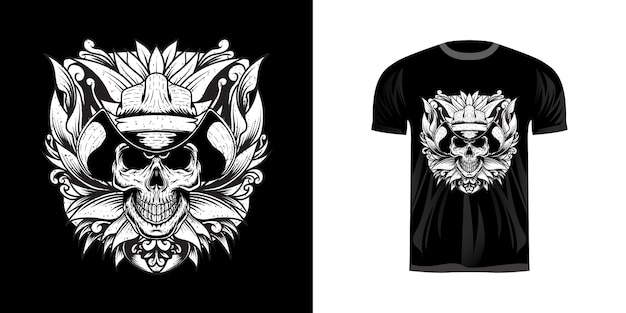 Illustration skull rodeo with grunge for tshirt design