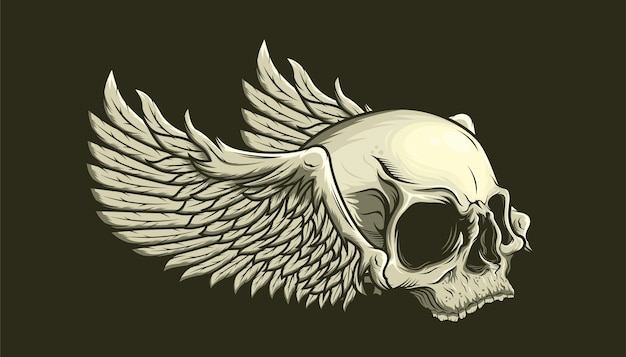Illustration of skull and wings detailed