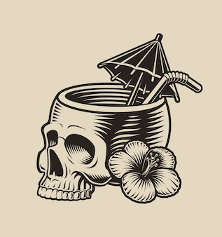 Illustration of a skull with a cocktail straw on a white background.