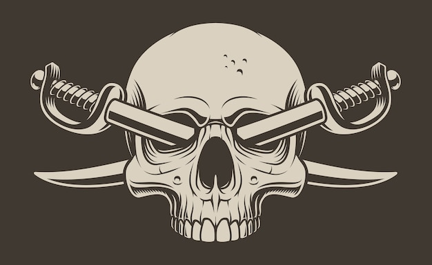 Illustration of a skull with crossed sabers on a dark background. all elements are in separate groups.