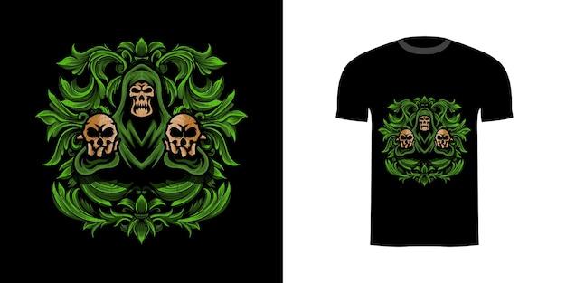 티셔츠 디자인을 위한 조각 장식이 있는 그림 두개골