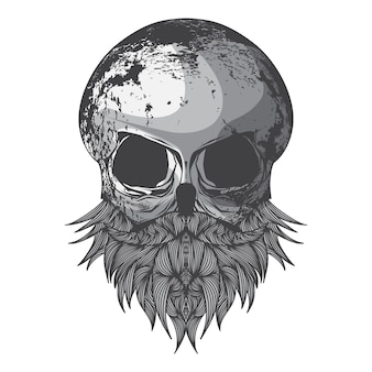 Illustration of skull with hipster beard