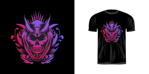 Иллюстрация черепа с неоновой раскраской для дизайна футболки