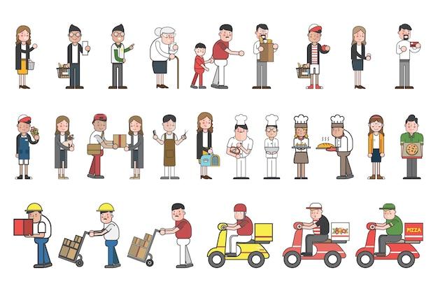 Illustrazione dell'insieme di vettore di piccola impresa