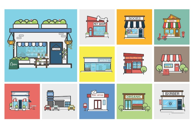 Illustration of small business vector set