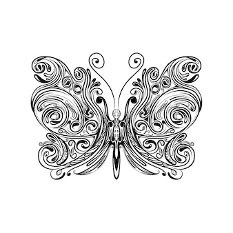 The illustration of the small butterfly with the zentangle wings for doddle inspiration