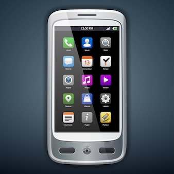 Illustration of smartphone with icons. .