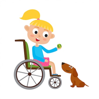 Illustration of smiling little blondy girl with ball on a wheelchair playing with dog