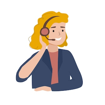 Illustration of smiling woman in headset in call center office worker telemarketing agent