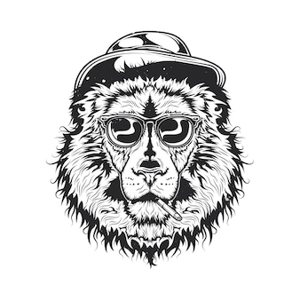 Illustration of smoking lion in a hat and glasses