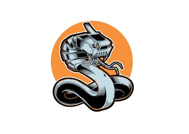 Illustration snake lan internet mascot