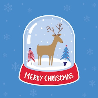 Illustration of a snow ball globe has a reindeer and christmas pine trees inside