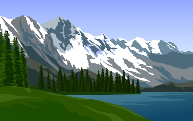 Illustration of snow-capped mountain with pine and lake
