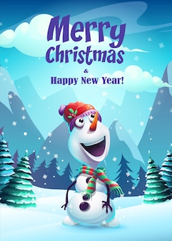 Illustration snowman greeting card merry christmas