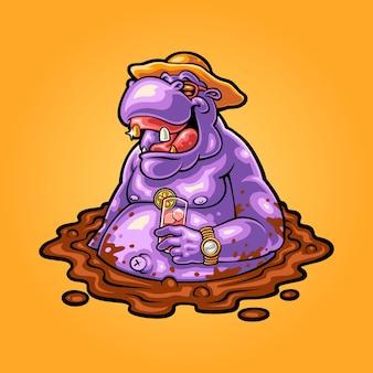 Illustration of soaking hippopotamus in mud