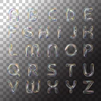 투명 배경에 그림 비누 알파벳 거품