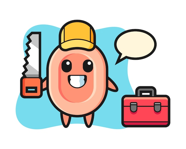 Illustration of soap character as a woodworker, cute style  for t shirt, sticker, logo element