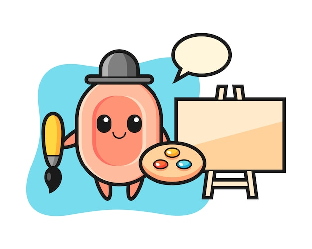 Illustration of soap mascot as a painter, cute style  for t shirt, sticker, logo element
