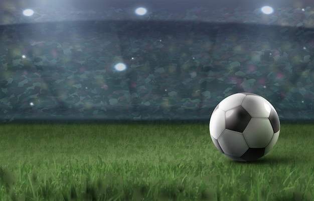 Illustration of soccer ball on grass against abstract football stadium background