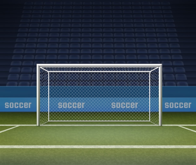 Illustration of soccer goal post on field, football gates on stadium background